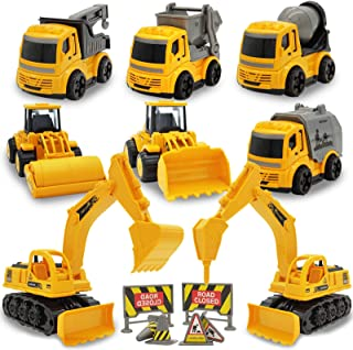 Construction Truck Toys, FLUIM 14-in-1 Vehicles Truck Toys Set with 8 Mini Engineering Toy Cars and 6 Road Signs, Pull Bac...