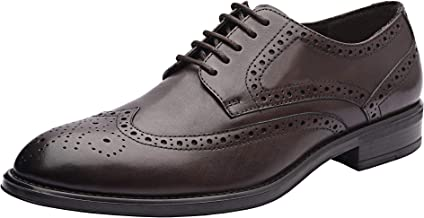 Allonsi Aaron Men's Formal Genuine Leather Wingtip Oxford Dress Shoes, Quality Low Heels, Lace-up Men's Shoes, Comfortable & Breathable Men's Oxford with Rubber Sole