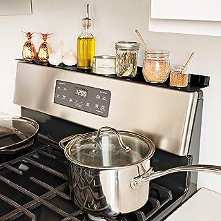 رف المطبخ Old Home Kitchen مقاس 76.2 سم، منظم المطبخ، رف مغناطيسي، رف للتوابل، رفوف الموقد، أدوات منزلية، سهلة التركيب (أسود)