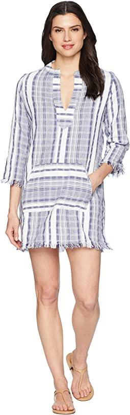 Yarn Dye Stripe V-Neck Popover Tunic Cover-Up
