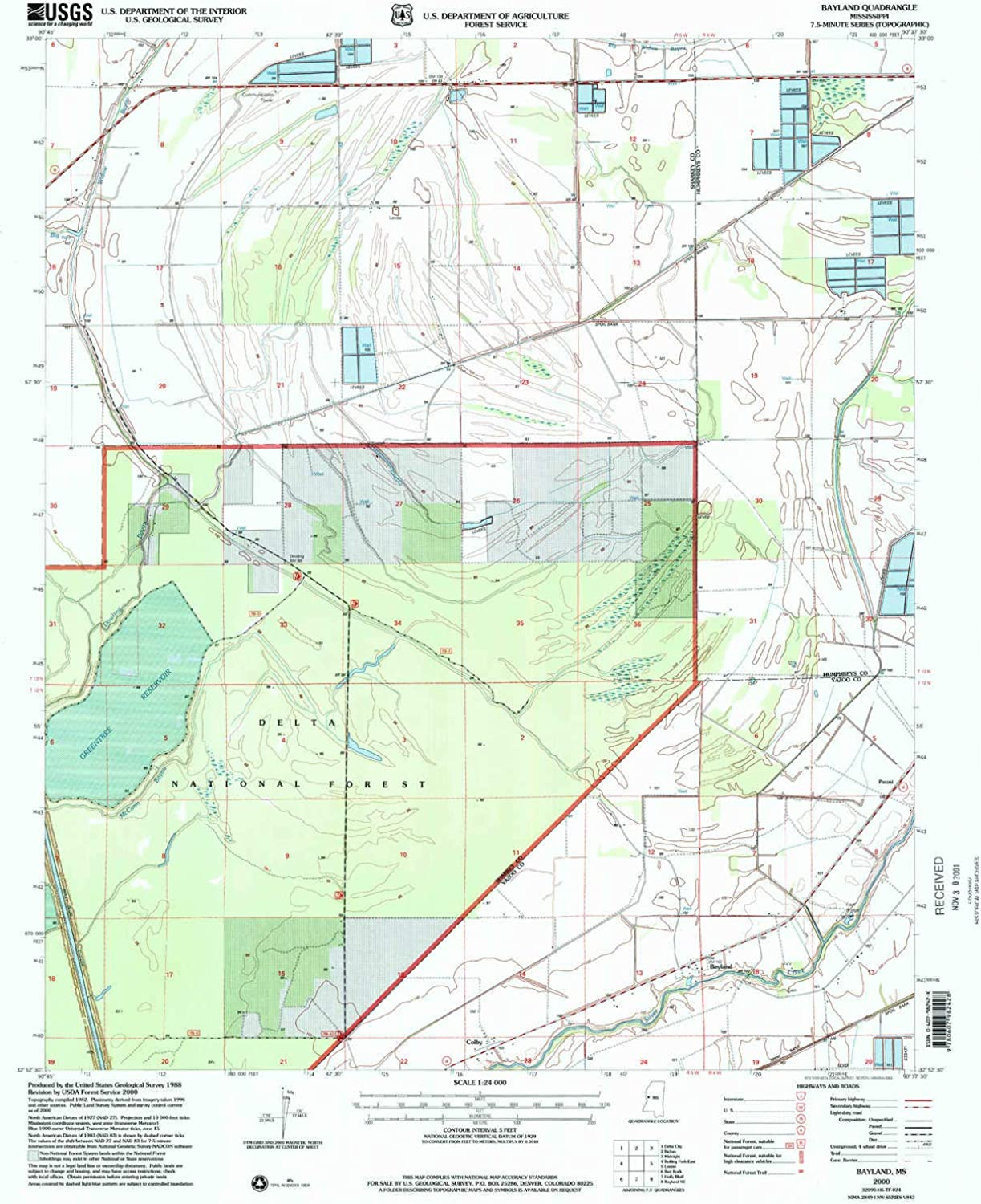 Bayland MS topo map, 1 24000 Scale, 7.5 X 7.5 Minute, Historical, 2000, Updated 2002, 26.8 x 22 in