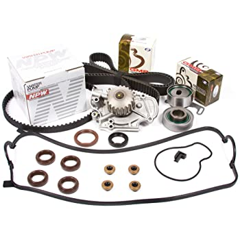 Evergreen TBK244MVCN Fits 94-02 Honda Accord Acura Odyssey Isuzu Oasis 2.2 2.3 SOHC F22B1 F23A1 F23A4 F23A5 F23A7 Timing Belt Kit Valve Cover Gasket NPW Water Pump