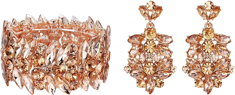 EVER FAITH Austrian Crystal Wedding Jewelry Sets Art Deco Bridal Prom Earrings Stretch Bracelet Set