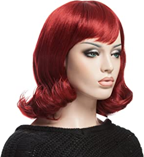 YOPO Wig, Short Wavy Wine Red Wigs for Women, 16'' Cosplay Medium Length Wig(Wine Red)