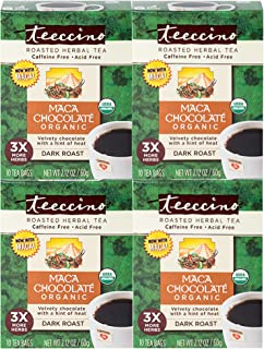 Teeccino Herbal Tea – Organic Maca Chocolaté – Adaptogenic Peruvian Maca | Cacao | Chicory | Prebiotic | Caffeine Free | Acid Free | Coffee Alternative, 10 Tea Bags (Pack of 4)