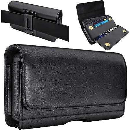 De-Bin iPhone 12 Pro Belt Holster, iPhone 12 Holster Case Belt Case with Clip Pouch Belt Holder Built in Card Holder/Cash Holder for Apple iPhone 12 Pro/ 12/ 11/ XR (Fits Phone w/Other Case on) Black