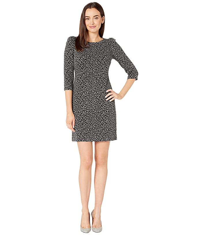 Animal Print Ponte Dress (Black/Charcoal) Women's Dress