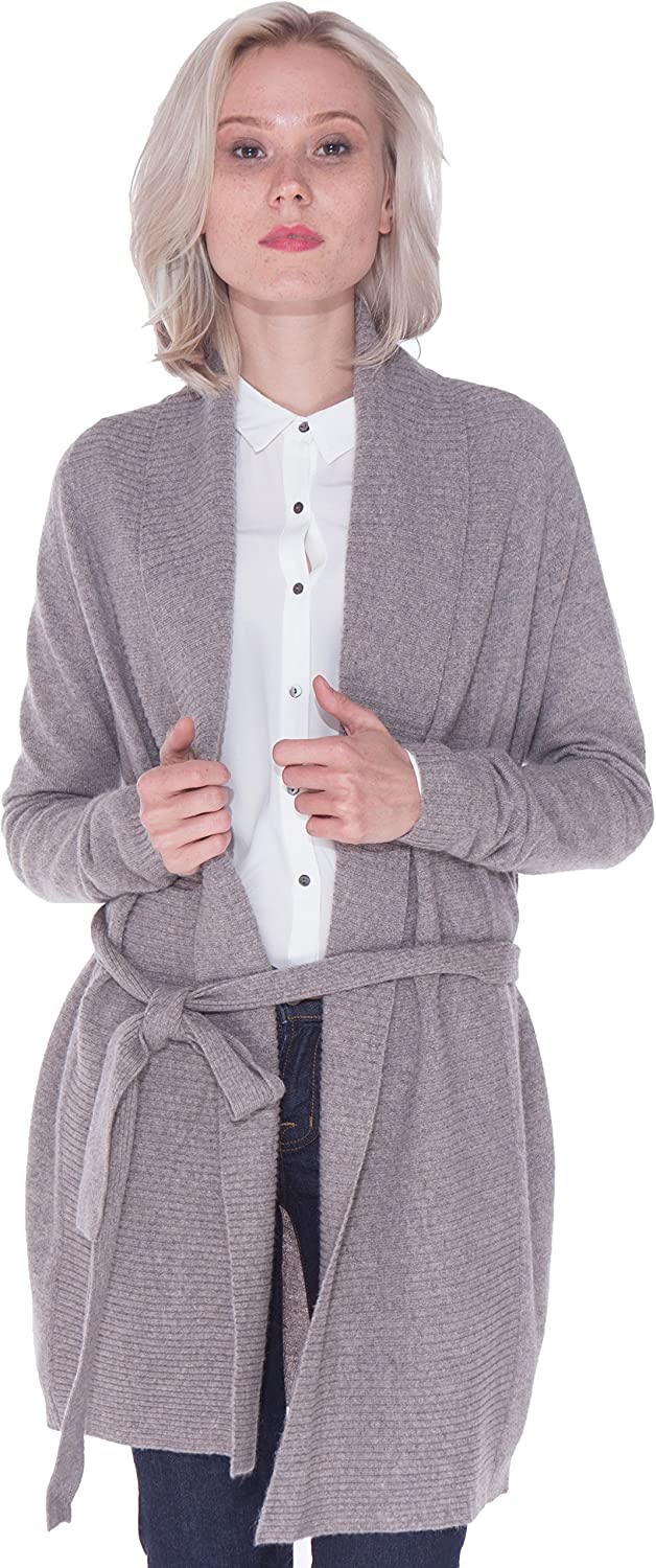LEBAC Women's 100% Cashmere Ribbed Shawl Collar Long Cardigan Sweater Waist Tie Open Front Overcoat