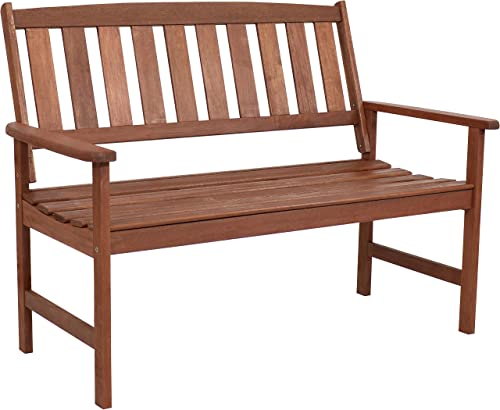 wholesale Sunnydaze Meranti Wood 2-Seat Outdoor Bench with Teak Oil outlet sale Finish - Modern Rustic Yard Furniture - Comfortable Outdoor new arrival Seating - Perfect for The Front Porch, Patio, Deck, Balcony or Backyard sale