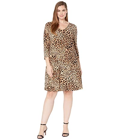 Karen Kane Plus Plus Size V-Neck Pocket Dress (Leopard) Women