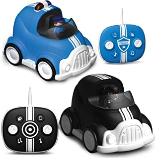 FAO Schwarz Lights and Sounds RC Police Chase 2-Pack, Remote Control Cars with Removable Cops and Robbers Action Figures, ...