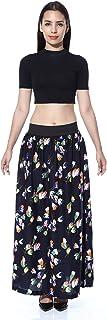 Hiya Women's Royal Crepe Printed Long Skirt - A-LINE Skirt (self Design