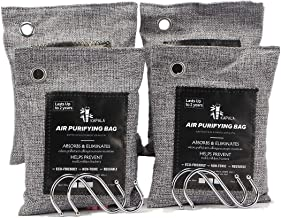 Natural Activated Bamboo Charcoal Air Purifying Bags Pack of 4, 200gram/bags, with 4 Hooks