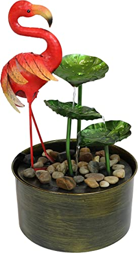 wholesale Sunnydaze outlet online sale Flamingo Whimsy Metal Outdoor Water Fountain - Multicolored Tiered Mini high quality Garden Fountain - Ideal Outdoor Decor for Yard, Patio or Garden - 21-Inch outlet sale
