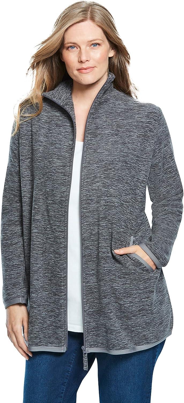Woman Within Women's Plus Size Zip-Front Microfleece Jacket Fleece