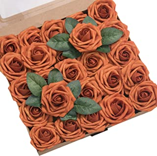 Ling's moment Artificial Flowers Burnt Orange Roses 25pcs Real Looking Fake Roses w/Stem for DIY Wedding Bouquets Centerpieces Arrangements Party Baby Shower Home Decorations