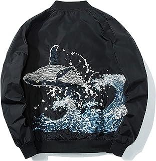 XYXIONGMAO Japanese Blue Whale Men Hip-Hop Clothing Bomber Jacket Men'S Oversized Windbreaker Couple Street Clothing