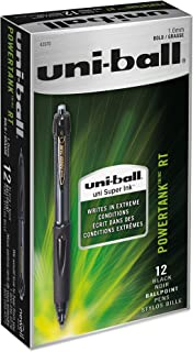 uni-ball PowerTank Retractable Ballpoint Pens, Bold Point (1.0mm), Black Barrel, Black Ink, 12 Count