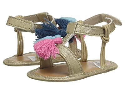 Baby Deer T-Strap Sandal with Tassels Waddle (Infant) (Gold/Multi) Girls Shoes