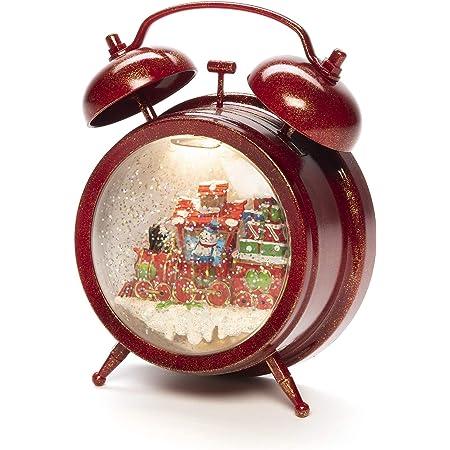 Konstsmide Snow Globe - Reloj despertador con escena, relleno de agua/interior (IP20) opcional de ocho canciones/funciona con pilas: 3 x AA 1,5 V (excl.)/linterna de Navidad 1 LED, rojo
