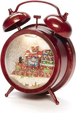 Konstsmide Horloge boule à neige avec scène de train, remplie d'eau (IP20)/8 chansons en option Fonctionne avec piles 3 x