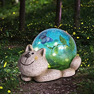 Solar Garden Statues Outdoor Figurines - Cat Lawn Ornament with Solar Lights Cracked Glass Outdoor Decor for Patio Yard Decorations
