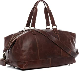 49a870d22e044 SID   VAIN Reisetasche echt Leder Logan groß Sporttasche Weekender  Ledertasche Unisex 48 cm braun