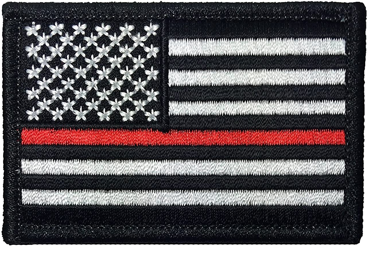 Tactical USA Flag Firefighter Fire and Rescue EMT EMS Thin Red Line Patch - Black White 2