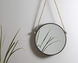 Foreside 15 inch Diameter Round Rustic Wall Mirror with Hanging Rope, Medium, Black