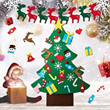 43 Pcs DIY Felt Christmas Tree, Gyvazla 3.3ft Christmas Tree with Ornaments, Christmas Party Banner for Kids DIY Xmas Gift...