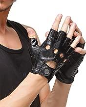 Nappaglo uomini pelle di daino guanti senza dita mezzo dito cuoio guidando moto in bicicletta in unlined guanti
