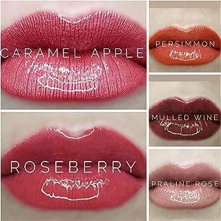 LIPSENSE BUNDLE 5 COLORS:1 ROSEBERRY, 1 PRALINE ROSE,1 CARAMEL APPLE, 1 PERSIMMON AND 1 MULLED WINE