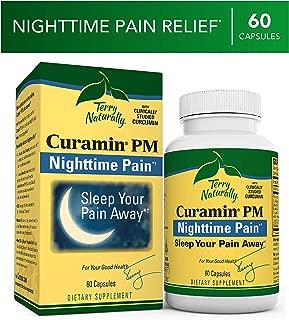 Terry Naturally Curamin PM - 60 Vegan Capsules - Non-Habit Forming Nighttime Pain Relief Supplement, Contains Curcumin & Melatonin - Non-GMO, Gluten-Free, Kosher - 30 Servings