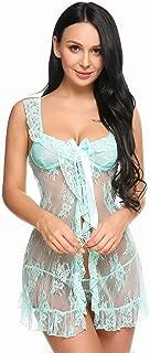 Women Nightwear Lace Babydoll Open Front Strap Chemise Mesh Nightgown Lingerie