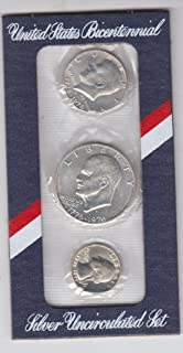 1976 Birth Year Coin Set (3) Silver Coins - Eisenhower Dollar, Kennedy Half Dollar, and Washington Quarter All Dated 1776-1976 to Represent the 200th Bicentennial of the American Revolution- Sealed in Plastic Cello in a Nice Display Card Choice Uncirculated