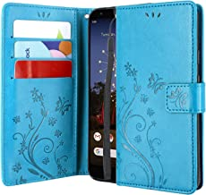 Lacass Leather Flip Wallet Case Cover Kickstand with Card Slots and Wrist Strap for Nokia 3.1A (AT&T) / Nokia 3.1C (Cricket Wireless) 2019 (Blue)