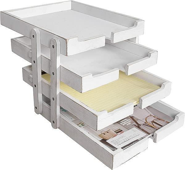 MyGift 4 层可折叠可扩展复古白色木质文件托盘