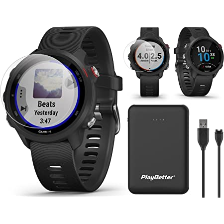 Garmin Forerunner 245 Music (Black) GPS Running Watch Power Bundle   with PlayBetter Portable Charger & HD Screen Protectors   Spotify, Training Status, Heart Rate   Running Smartwatch   010-02120-20