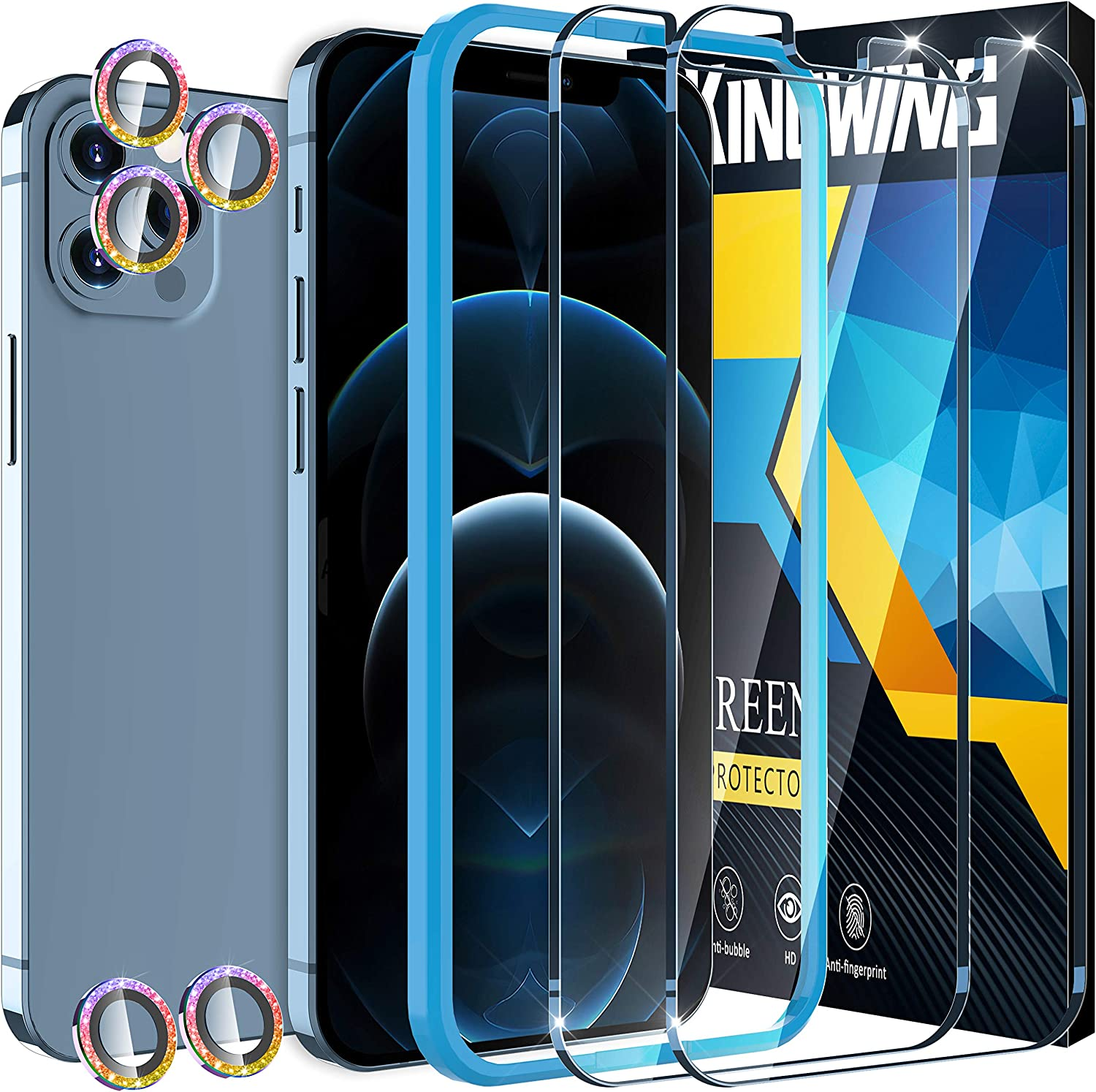 [2+5 Pack ] KINGWING Screen Protector Compatible with iPhone 12 Pro Max 5G (6.7 inch), 2 Pack Tempered Glass + 5 Pack Diamond Rainbow Camera Lens Protector [Installation Frame] [U-Shaped Cutout]