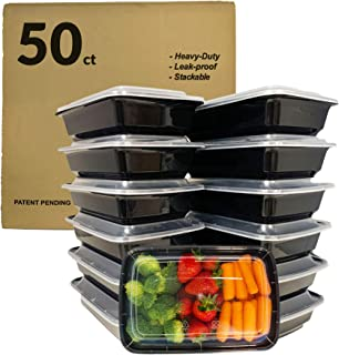 Reli. Meal Prep Containers, 28 oz. (50 Pack) - 1 Compartment Food Containers with Lids, Microwavable Food Storage Containers - Black Reusable Bento Box/Lunch Box Containers for Meal Prep (Black)(28oz)