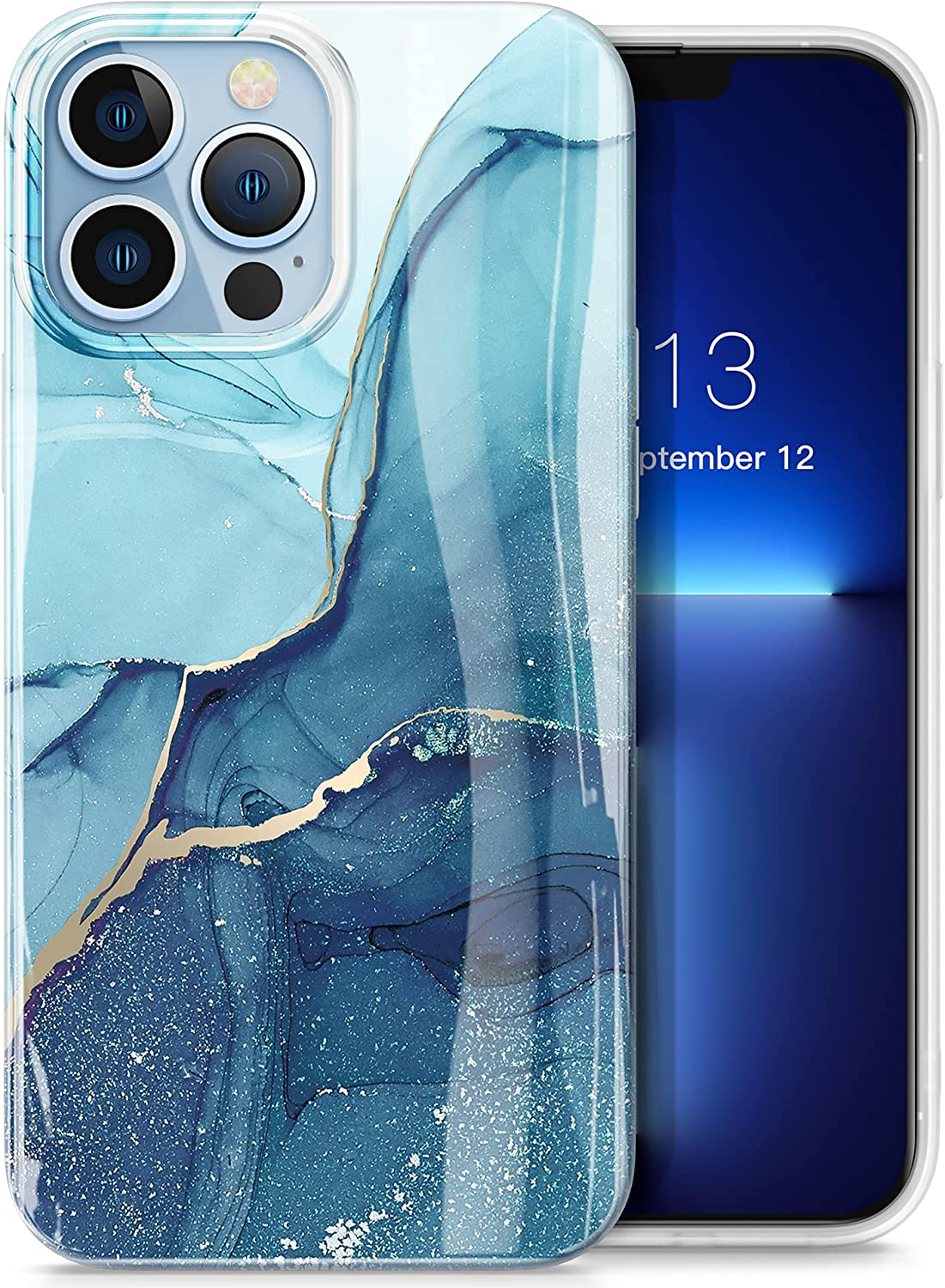 GVIEWIN Case Compatible with iPhone 13 Pro Case 6.1 Inch 2021, Marble Phone Case Slim Glossy Soft TPU Shockproof Protective Cover for Women Girl Stylish Phone Cases Covers(Stray Stars/Blue)