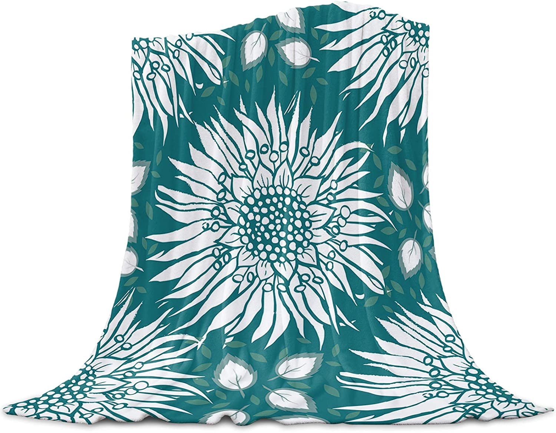 LEO BON Soft Warmer Throw Blankets Max 64% OFF for All Denver Mall Sunfl Season Blooming