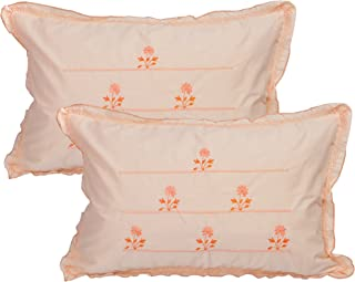RJ Products Cotton Embroidered Pillow Covers (Set of 2 Piece) Peach Color