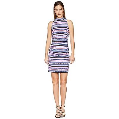 Nicole Miller Mock Neck Shirred Dress (Multicolored) Women