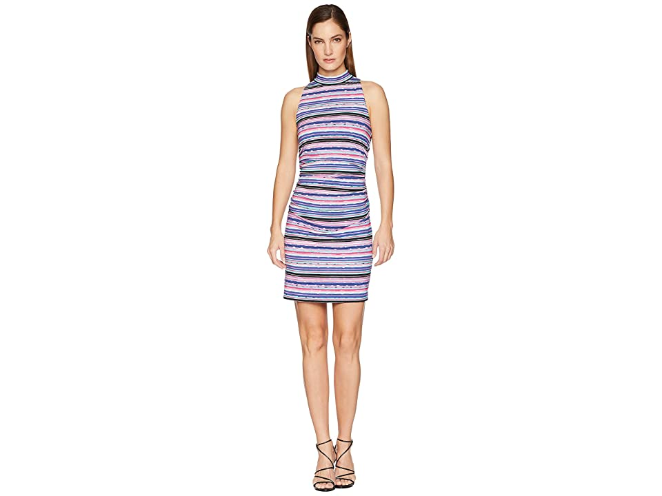 Nicole Miller Mock Neck Shirred Dress (Multicolored) Women