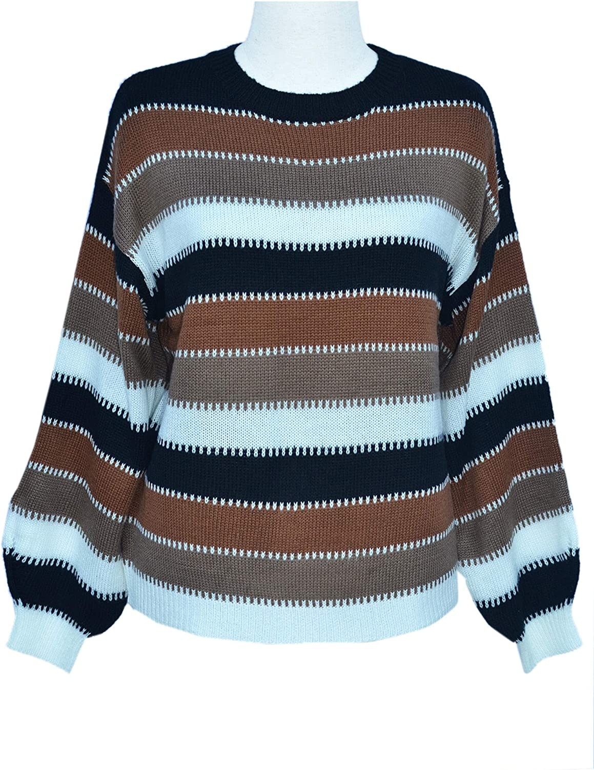 Angashion Women's Sweaters Casual Long Sleeve Crewneck Striped Winter Pullover Knit Sweater Tops