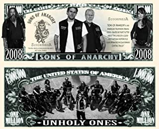 Anime Source Sons of Anarchy Unholy Ones Television Series Motorcycle Outlaw Club Commemorative Novelty Million Bill with Semi-Rigid Protector