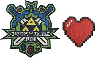 Legends Live Forever & 8-Bit Heart Video Game Set of 2 Die Cut Embroidered Iron On Patch Applique