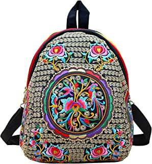 Women Vintage Flower Ethnic Embroidered Backpack Handmade Colorful Small Mini Travel Shoulder Bag Mochila