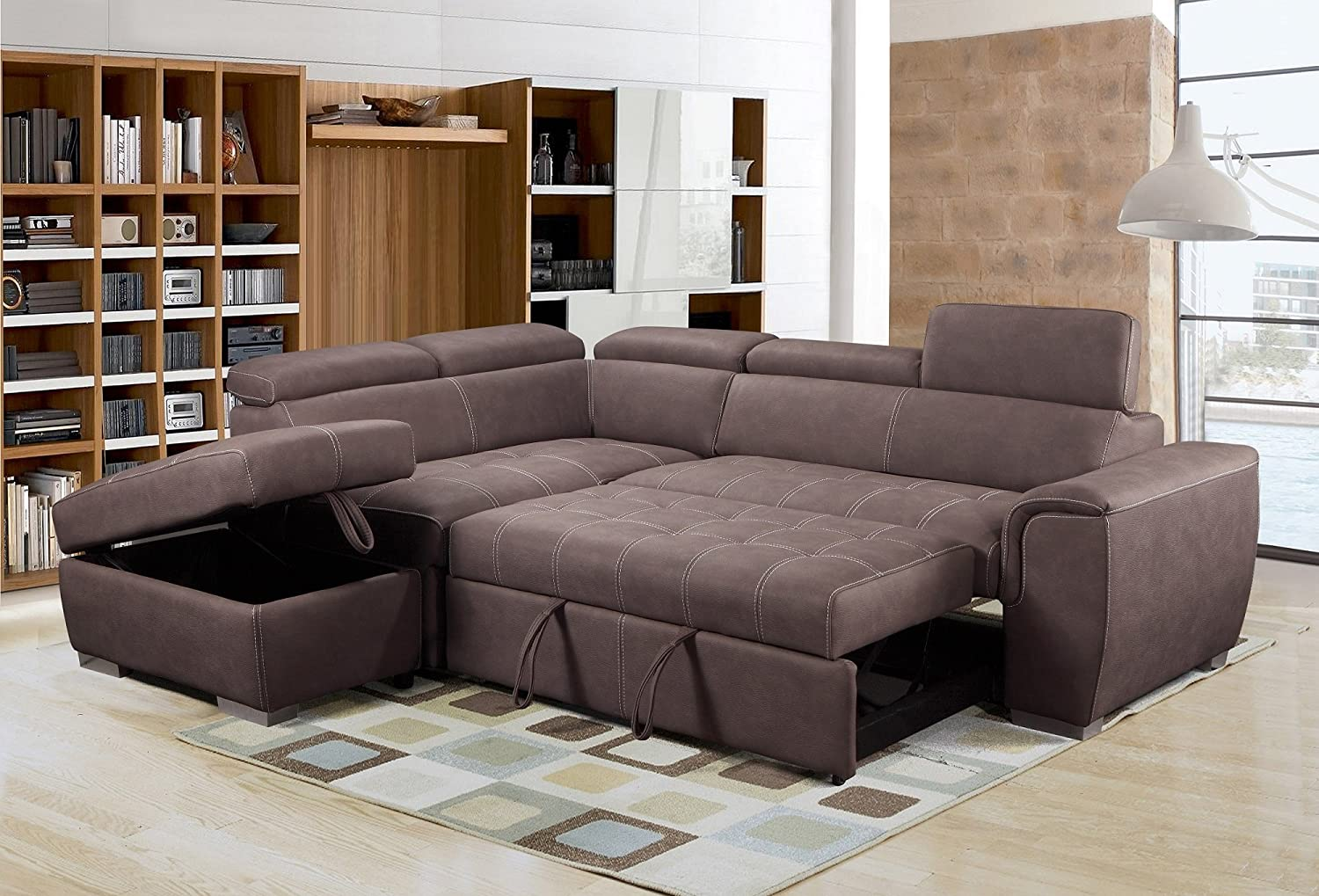 Rienzo Large Brown Fabric Suede Corner Sofa Bed With Tilting Headrest And Storage Ottoman (Left Hand Facing): Amazon.co.uk: Kitchen & Home